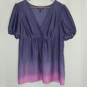 Daisy Fuentes Moda Sheer Short Sleeve Purple Pink